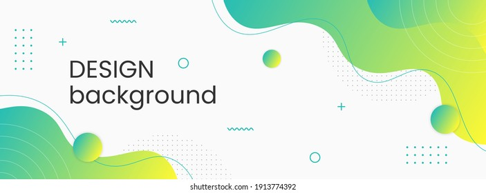 Colorful template banner with gradient color. Design with liquid shape.