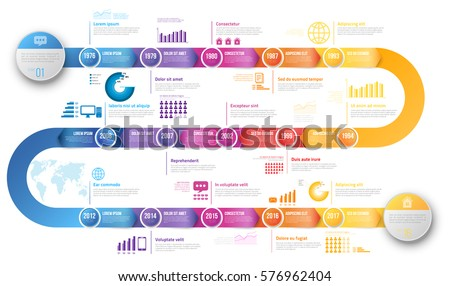 colorful template business concept timeline arrows stock vector