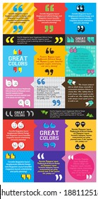 Colorful template quotation marks design, layout