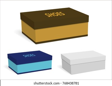 Colorful templates of empty boxes for shoes. You can apply your design. Brown, blue and white boxes isolated on white background. Vector illustration.