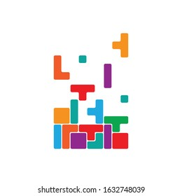 Colorful tetris game vector design