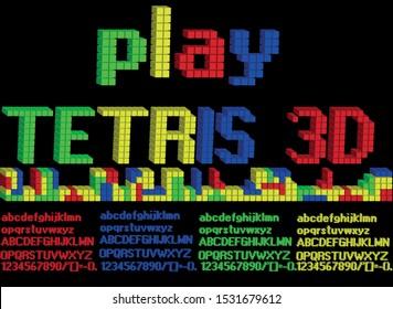 Colorful Tetris Made Alphabet ABC character design. Tetris font Vector illustration. Eps 10