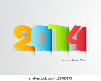 Colorful text Happy New Year, can be use for stickers, tags, labels and greeting cards for new year celebration.