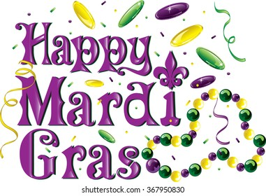 Colorful text that says Happy Mardi Gras