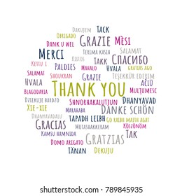 Colorful Thank You lettering. Abstract vector illustration in different languages for Thank You Day, education, grateful cards or Thanksgiving Day, business presentations.
