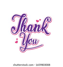 Colorful thank you lettering typography design vector eps 10