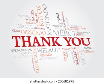 Colorful Thank You Word Cloud in vector format. Gift card