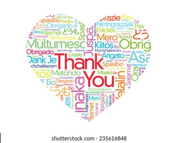 Colorful Thank You Word Cloud in vector format, different languages composed in the shape of love/heart