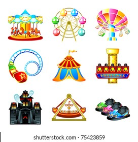 Colorful theme park attraction icons