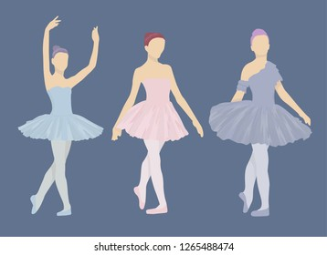 Colorful three ballerinas isolated silhouette on blue background. Ballet set vector.