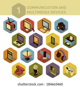 Colorful three dimensional icons of electronic multimedia and telecommunication devices