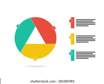 Colorful three sided puzzle presentation infographic diagram chart vector graphic template with explanatory text field isolated on white background