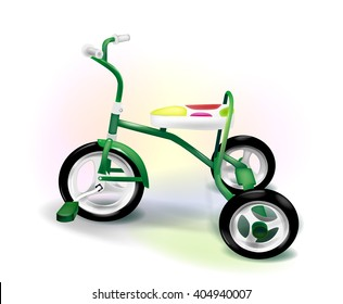 colorful three-wheeled kids bike