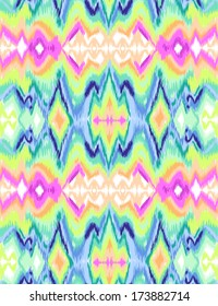 Colorful tie dye ikat ~ seamless background