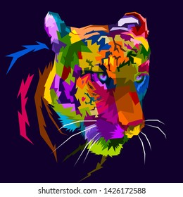 colorful tiger face isolated on pop art