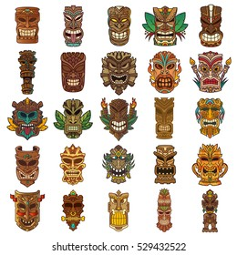 Colorful Tiki Head Design Set