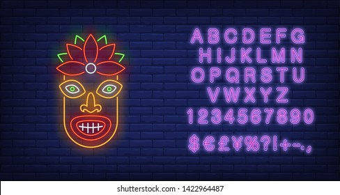 Colorful tiki idol neon sign. Tribal mask, ancient culture design. Night bright neon sign, colorful billboard, light banner. Vector illustration in neon style.