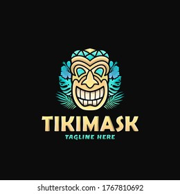 Colorful Tiki Mask Logo Design Vector Illustration