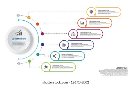 Colorful Timeline infographics design vector and marketing icons can be used for workflow layout, diagram, annual report, web design. Business concept with 6 options, steps or processes.