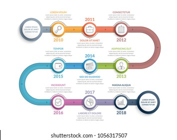 Colorful timeline infographics template with 9 steps, workflow, process, history diagram, vector eps10 illustration