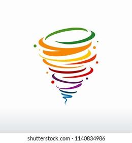 Colorful Tornado logo symbol isolated, Abstract Hurricane Logo Symbol, Typhoon vector illustration