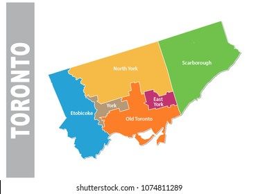 colorful toronto administrative and political map
