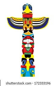 Colorful totem pole. Isolated on white background. Vector EPS10.