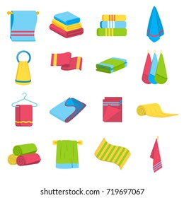 Colorful towels set in cartoon style, vector illustration. Folded and hanging icons collection. Isolated on white background
