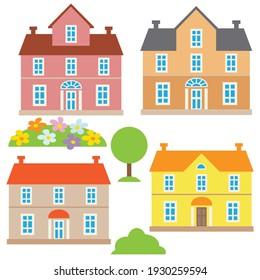 Colorful townhouse vector cartoon illustration