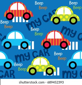 Colorful toy cars seamless pattern for fabric pattern designs
