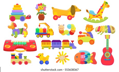 colorful toys for children. Set of vector illustrations
