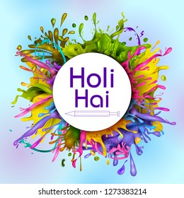 Colorful Traditional Holi splash background for festival of colors of India in vector