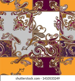 colorful traditional paisley pattern on vector