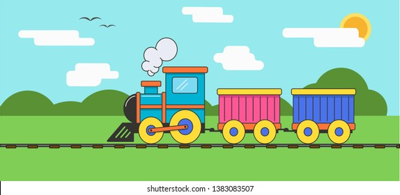 a colorful train rides on rails on a sunny day