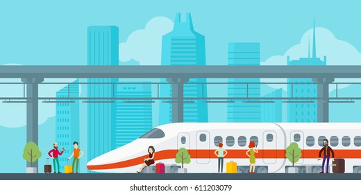Colorful train station concept with passengers standing at platform in flat style vector illustration