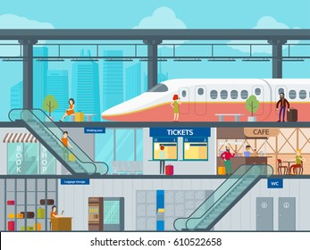 Colorful train station flat template with travelers ticket window cafe shop waiting area luggage storage vector illustration