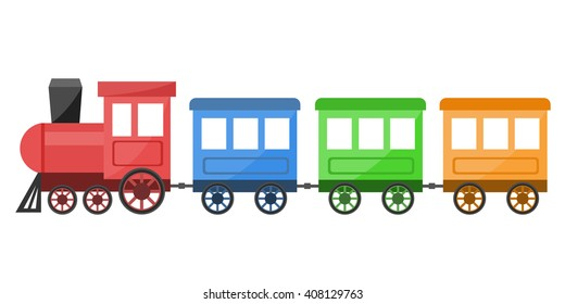Colorful train vector illustration on white background