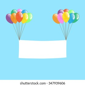 Colorful Transparent Balloon with Blank Banner, Vector Isolated for Party or Celebration