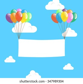 Colorful Transparent Balloon with Blank Banner floating in Day Blue Sky, Vector for Advertising or Celebration