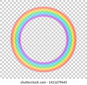 Colorful transparent halo rainbow vector illustration. Circle ring halo beautiful meteorological phenomenon. Fantasy symbol of good luck. Round rainbow in red, orange, yellow, green, blue, violet