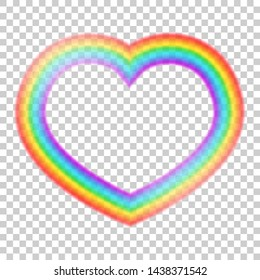 Colorful transparent heart halo rainbow vector illustration. Heart halo beautiful meteorological phenomenon. Fantasy symbol of good luck. Round rainbow in red, orange, yellow, green, blue, violet