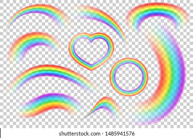 Colorful transparent rainbows cool vector set. Perspective diagonal view. Bright realistic arch rainbows, heart and round halo rainbow. Fantasy symbol of good luck.