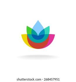 Colorful transparent vector flower symmetry logo