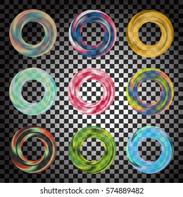 Colorful, transparent vector rosette or circle set. Stock illustration of beautiful round shaped  transparent color objects. Circular frame template, cosmetics, web, presentation, advertisement.