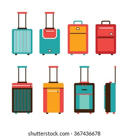 Colorful travel bag icon set Carry on luggage collection