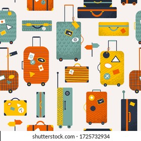 Colorful travel bags seamless pattern, luggage collection, travel illustration
