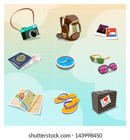 Colorful Travel Clipart in Cartoon style