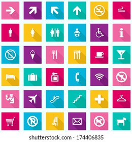 Colorful Travel Infographics - Tourism Signs Icons - vector EPS10