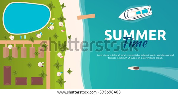 Colorful Travel to Paradise. Tropical beach. Cruise liner. Best cruise. Vector flat banner for your business