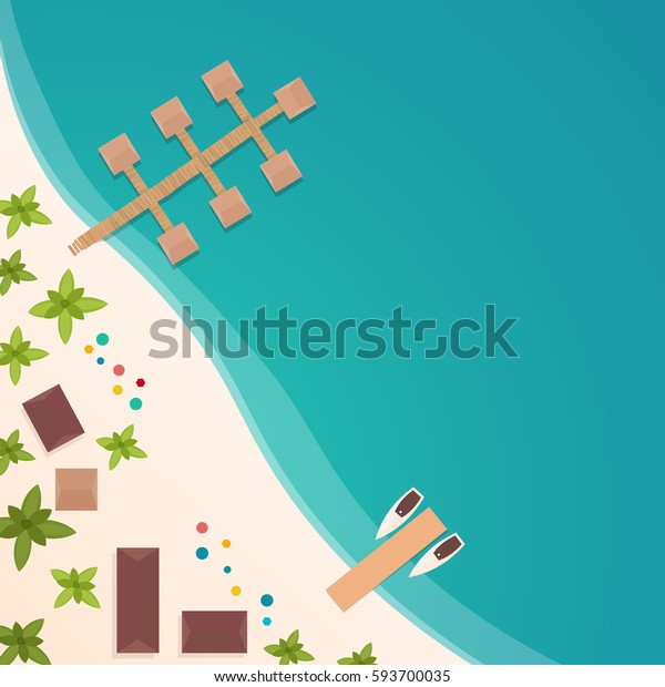 Colorful Travel to Paradise. Tropical beach. Best cruise. Vector flat banner for your business